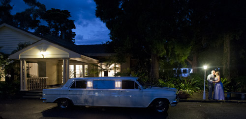 night wedding photography bram leigh, with 1964 holden wedding limousine