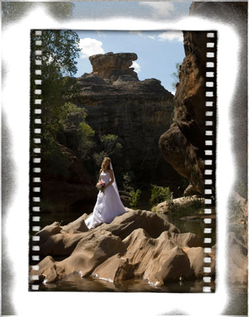 Spectacular cobbold gorge makes a dramatic setting for this bridal portrait in outback Queensland Australia