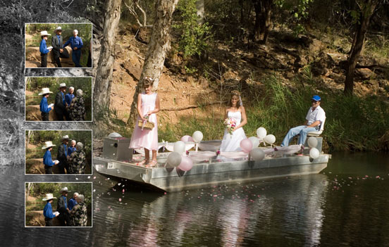 Bride arrives for her wedding in Cobbold Gorge, by boat